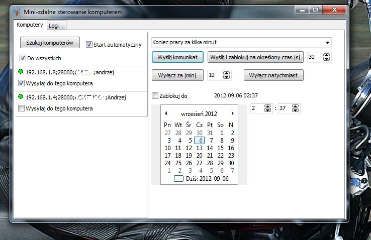 Ekran aplikacji klienta
